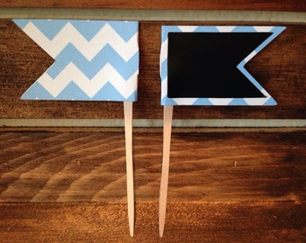 Chalkboard Pennant Food Picks / Place Cards / Cupcake Toppers - set of 10