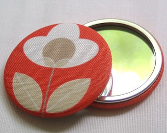 Red Blue Pocket Mirror Tulip fabric Floral
