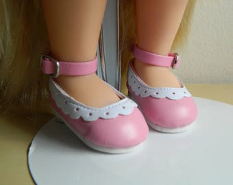 "Disney Animator doll shoes 16""   shoes in  pink and white ankle strap"