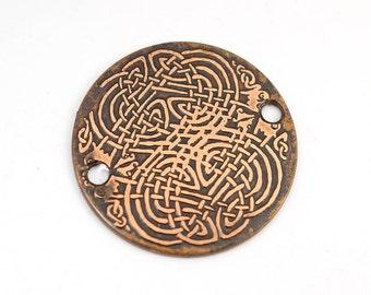 2 hole copper Celtic bracelet component, knotwork link, 25mm