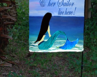 Brunette Mermaid and Sailor Garden Flag from art. Available in 2 sizes