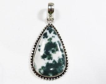 Womens Pendant, Tree Agate Gemstone Pendant, Sterling Silver Pendant, Boho Necklace, Bohemian Gemstone Jewelry, Boho Jewelry