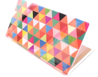 Checkbook Cover - Triangle Madness - geometric triangle print check book holder - colorful modern accessory