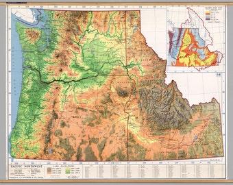 Pacific Northwest Vintage Physical Map Poster: Oregon, Washington, Idaho | Featured in Portlandia | Wall Decor