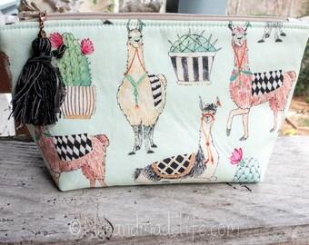 Lama Fabric Makeup Bag || Cute Llama and Cactus Fabric | Lined Makeup Bag | Colorful Makeup Bag | Small Gift Under 20 | Camera Accessory Bag