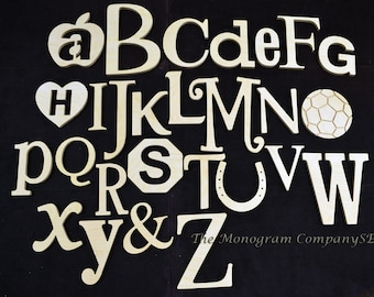 Unfinished Wooden Alphabet Set in Mixed Fonts and Sizes, Clean and Simple Design,Nursery Wall Decor ABC Alphabet Wall