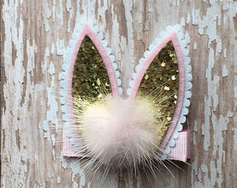 White Pink Gold Glitter Easter Rabbit Bunny Ears Hair Clippie Babies-Toddlers-Girls