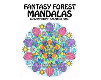 Adult Coloring Book - Fantasy Forest Mandalas - printable mandala coloring book - 12 adult coloring pages
