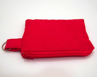 Red Suede Coin Purse