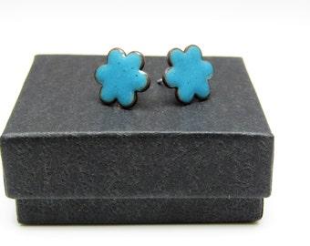 Teal blue flower enamel stud earrings