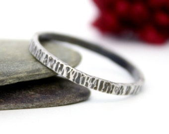 Sterling Silver Tree Bark Stacking Ring, Silver Stacking Ring, Simple Ring, Rustic Silver Ring, Engagement Ring, Hammered Ring