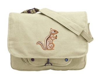 Chipmunk with Flourish Embroidered Canvas Messenger Bag