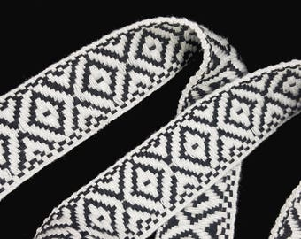 Tribal Aztec Ribbon Trim, Black and White Knitted Rhombus Boho Trim for Fashion Crafts