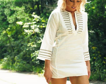 70s Vintage Style Cotton Tunic Mini Dress Kimono Sleeve Gold Trim Boho Chic Gypsy Hippie Flower Child Festival Designer GRIFONI