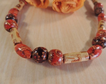 Red and brown hand painted bead upcycled stretch necklace