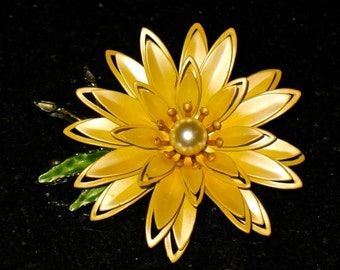 Dimensional Satin Yellow Enamel Flower Riveted Brooch