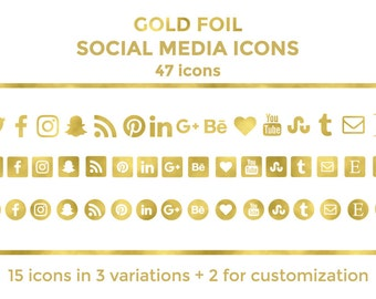 Gold Social Media Icons Buttons Website Icons Gold Foil Blog Icons Gold Social Media Icons Social Media Graphics Twitter