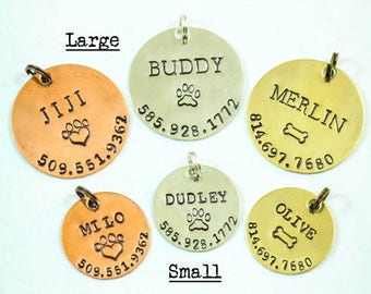 Dog ID Tag • Personalized Pet Tag • Custom Dog Tag • Cat Tag • New Puppy Gift • New Dog Gift Copper Tag • Silver Pet Tag • Name Number