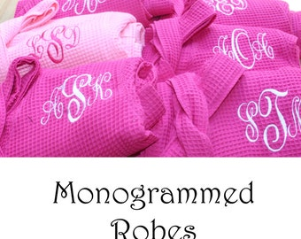 7 Personalized Bridesmaid Robes, Set of 7, Monogrammed Robe, Waffle Robe, Personalized Bridesmaids Gifts, Getting Ready Robe, Cotton Robes