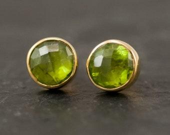 Peridot Gemstone Stud Earrings, August Birthstone Jewelry, Round Gemstone Studs, Crystal Earrings, Birthday Gift for Her, Simple Stone Studs