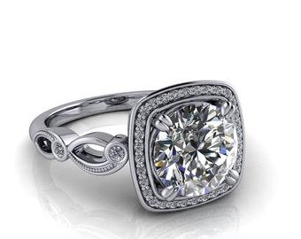 2 ct Moissanite engagement ring diamond setting custom 14k or 18k gold platinum or palladium moissanite ring diamond alternative