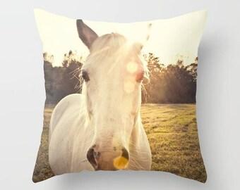 horse pillow, decorative throw pillow, photography pillow cover, home decor, animal decor, Sunlit Horse