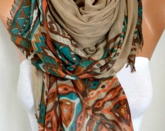 Beige Tribal Cotton Scarf, Bohemian Shawl, Fall, Oversize Wrap Pareo  Gift Ideas For Her Women Fashion Accessories  Women Scarves