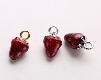 2PCS Sterling Silver Red Enameled Strawberry Charm,Strawberry Pendant,Gold Strawberry Charm,Food,Plant,Fruit,Sweets,Keychain Pendant