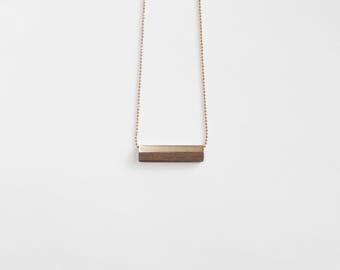 MINIMALIST WALNUT BAR necklace/wood necklace/rectangle bar/geometric necklace/wood jewelry/minimalist necklace/charm/nordymade/nordy