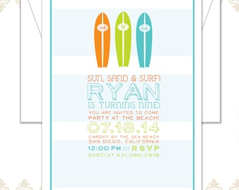 Surfboard Beach Party Invitation