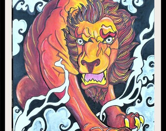Gothic / Oriental Painting - cloud lion: original art work hand painted
