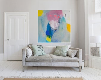"""Large blue, pink and yellow abstract Giclée print of original ABSTRACT painting """"Everybody's Mixture"""""""