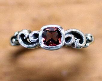 Vintage garnet ring, silver garnet engagement ring, january birthstone ring, cushion cut ring, swirl ring, ocean ring, bezel Water custom