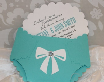 Darling Diaper Shape Invitations - Set of 10 - In Light Teal and White - Designer Inspired - Baby and Company, Stork and Company