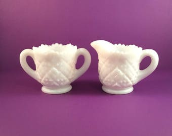 Vintage WESTMORELAND THUMBELINA CHILD'S Milk Glass Sugar and Creamer Set