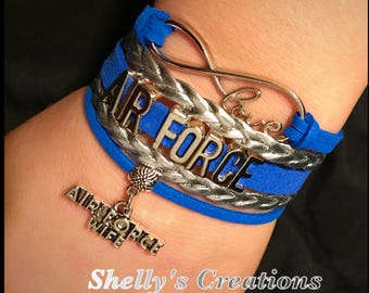 Leather bracelet - Air Force, choose bottom charm.