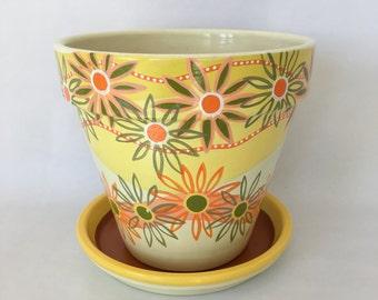 "8"" Hand Painted Flower Pot"