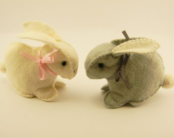 little rabbit easter, miniature bunny, woodland rabbit,Stuffed Rabbits Toy Hand Made, ivory gray