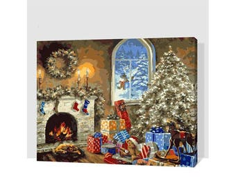 Paint by Number Kit STRETCHED CANVAS Wood Frame 16x20 Christmas Eve GX7431