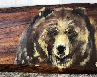 Hand painted bear on black walnut