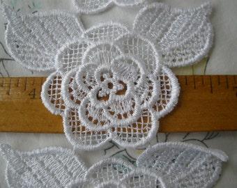 "White Venise 50mm Flower chain applique Trim 2 5/8"" wide lace leaves scrapbook craft embellish wedding bridal floral roses"