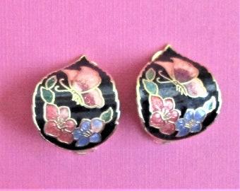 Vintage Cloisonne Earrings Unusual Clip On Earrings Black Peach Butterfly Floral Earrings Artful Earrings Black Pink Enamel and Gold Jewelry