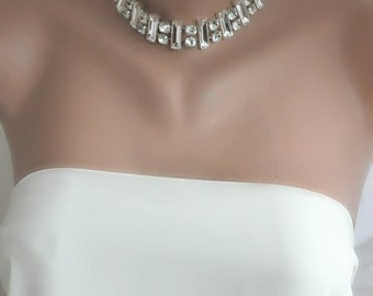 NEW Collection Bold Bridal Rhinestone Collar Necklace