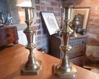 Gorgeous and Stylish Victorian Antique Brass Candlesticks
