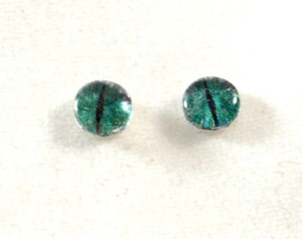 6mm Green Dragon Eye Glass Cabochons - Tiny Glass Eyes for Doll or Jewelry Making - Set of 2