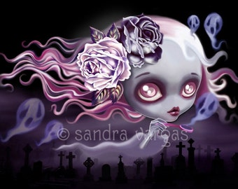 Ghostly Luna 8 x 10 Print Digital Illustration by Sandra Vargas