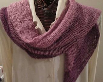 Linen Cotton Hand-knit Scarf in Gradient Purples