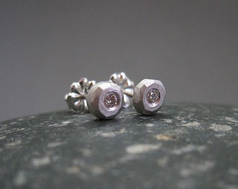 White Diamond Earring Studs in Sterling Silver, brushed finish, tiny stud, organic, handmade