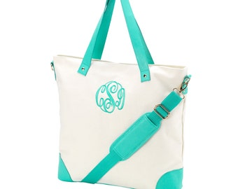 Monogrammed Canvas Tote Bag, Canvas Leather like  Trim Tote bag, size 18.5x3.5x15.5 Tote Bag, Shoulder Bag,Canvas Shoulder Tote bag
