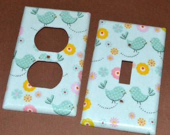 Bluebirds and Flowers  Light Switch Covers Outlet Covers
